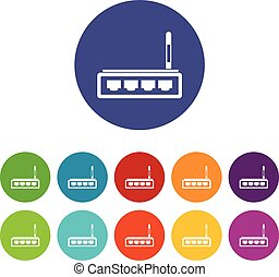 Router set icons in different colors isolated on white...
