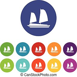 Vietnamese junk boat set icons in different colors isolated...