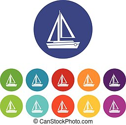 Small boat set icons