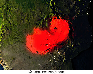 Zambia in red from space at night - Zambia in red at night...