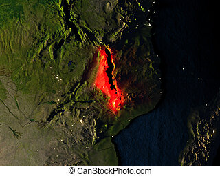 Malawi in red from space at night - Malawi in red at night...