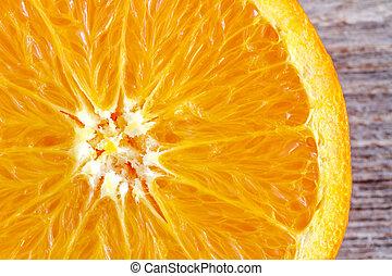 Fresh Organic Navel Orange Fruit - Close up of the inside of...