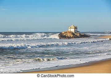 Chapel Senhor da Pedra at Miramar Beach, Vila Nova de Gaia,...