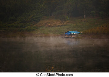 houseboat evening in river