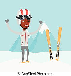 Cheerful skier standing with raised hands. -...