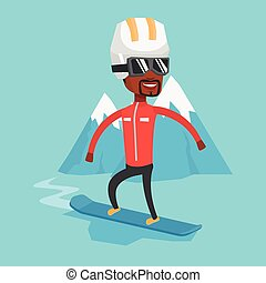 Young man snowboarding vector illustration. -...