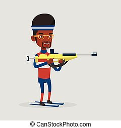 Cheerful biathlon runner aiming at the target. - Young...