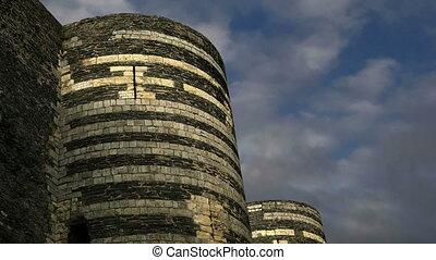 Exterior of Angers Castle, Angers city, Maine-et-Loire,...