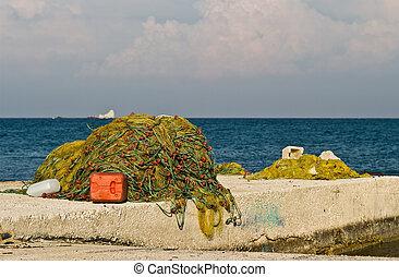 Fishing net on a pier on Zakynthos Island, Greece.