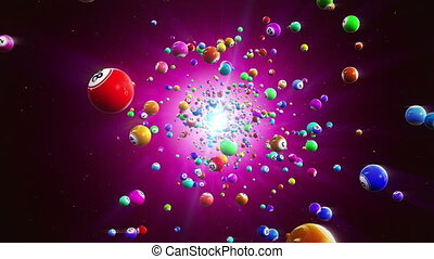 Lottery balls loopable background - Flight colored bingo...