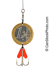 Euro Bait - One Euro coin as a fishing lure isolated on...