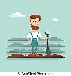 Farmer with shovel at field vector illustration.