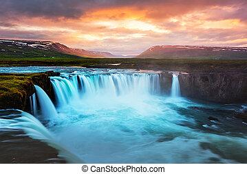 Godafoss waterfall on Skjalfandafljot river, Iceland,...