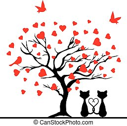 valentine tree - vector valentine tree with hearts and cats