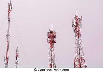 Red and white tower antennas