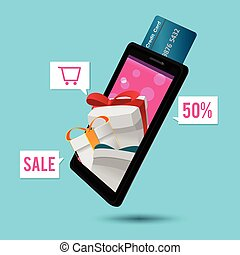 Smart Phone Mobile Credit Card Gift Vector