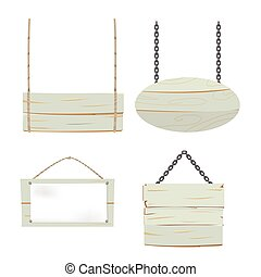 Wood Sign Board Collection Set Vector