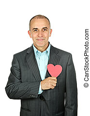 Man with paper heart on white background - Smiling man...