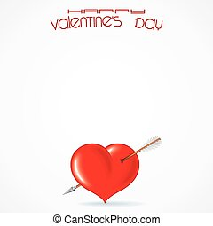 Abstract White Vector Background with Valentines Day Red...
