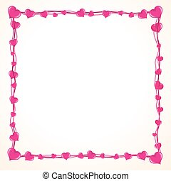 Valentine Love Frame with Lot of Pink Hearts