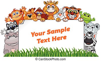 Wild Animals with Paper Sign. Vector Illustration