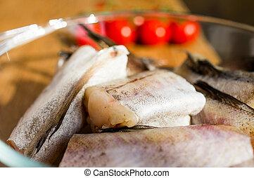 Fish, Walleye pollock, Alaska pollock - Fresh, raw fish -...