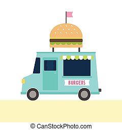 Food truck with burgers. Vector hand drawn illustration