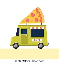 Cartoon pizza truck. Pop up cafe. Vector hand drawn...