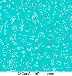 Dental seamless pattern, sketch for your design. Vector...