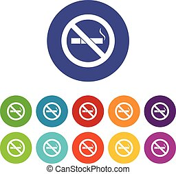 No smoking sign set icons in different colors isolated on...