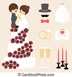 Vector illustration of wedding color symbols collection -...