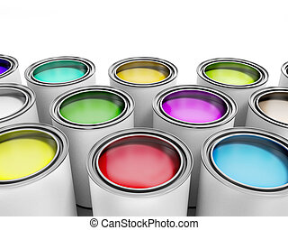 Multicolored Paint Cans on White