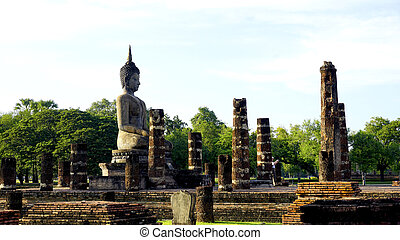 Historical Park Wat Mahathat temple bhudda statue in...