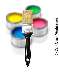 Cmyk paint tin cans