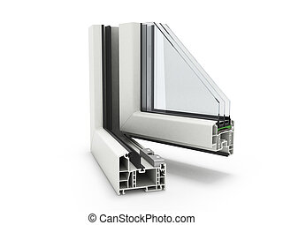 Open Plastic Window profile isolated close up