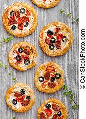 mini, sopro, Massa,  pizza