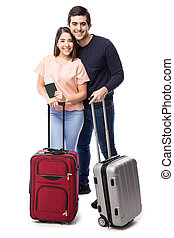 Young couple traveling together - Full length portrait of a...