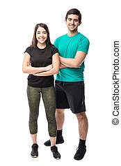 Good looking couple ready to exercise - Full length portrait...