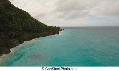 Coast sea in stormy weather.Aerial view:Boracay island...