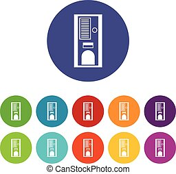 Coffee vending machine set icons in different colors...