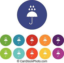 Umbrella and rain drops set icons in different colors...
