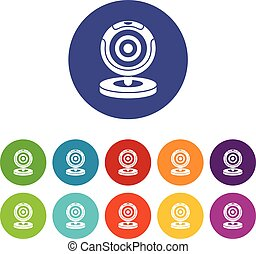 Webcam set icons in different colors isolated on white...