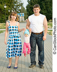 family of three at  park