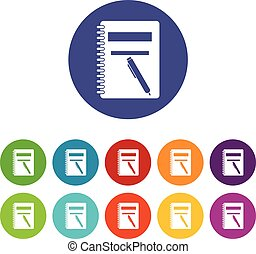 Closed spiral notebook and pen set icons in different colors...