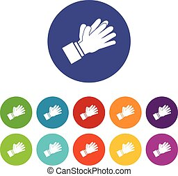 Clapping applauding hands set icons in different colors...