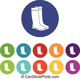 Rubber boots set icons in different colors isolated on white...