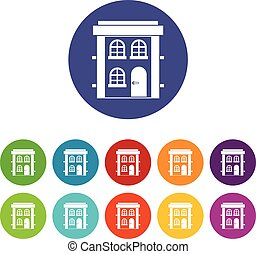 Two-storey residential house set icons
