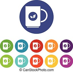 Cup of tea set icons in different colors isolated on white...