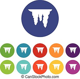 Icicles set icons in different colors isolated on white...