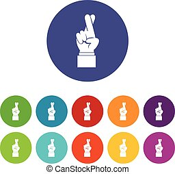 Fingers crossed set icons in different colors isolated on...